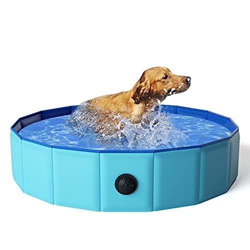 KORIMEFA Hundepool für Hunde, Swimmingpool Hund Planschbecken Schwimmbecken, Faltbarer Pool Badewanne Wasserbecken, Klappbares Haustier-Duschbecken (80*20CM)