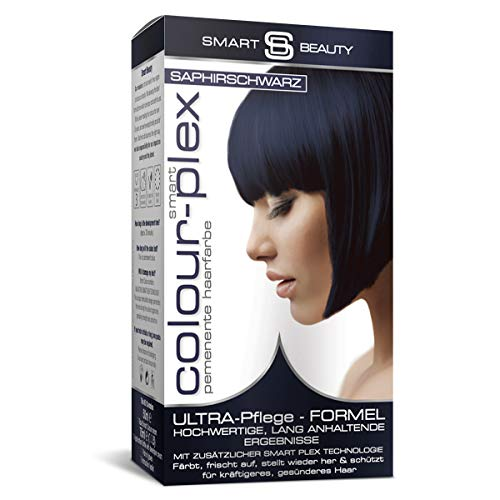 Smart Beauty Saphirschwarz permanente Haarfarbe in Salonqualität|100% vegane Rezeptur, ohne Tierversuche | Mit Smart Plex Anti-Haarbruch-Technologie für Schutz und Kräftigung des Haares