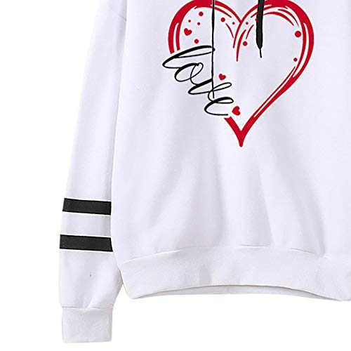 Janly Clearance Sale Blusa de manga larga para mujer, para invierno, otoño, cálido, sudadera con capucha, con letras, para Navidad