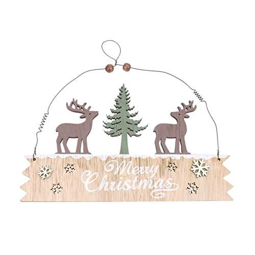 LIOOBO Frohe Weihnachten Holzschild Weihnachten Rentier hängen Schild Tafel Weihnachtsbaum Dekoration Weihnachten Tür Wanddekoration