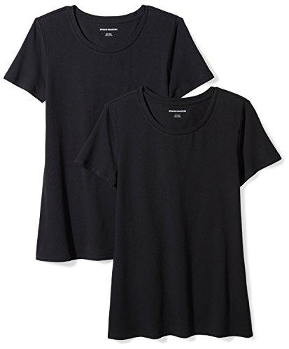 Amazon Essentials Damen-T-Shirt, klassisch, kurzärmlig, Rundhalsausschnitt, 2er-Pack, Schwarz (Black), Small