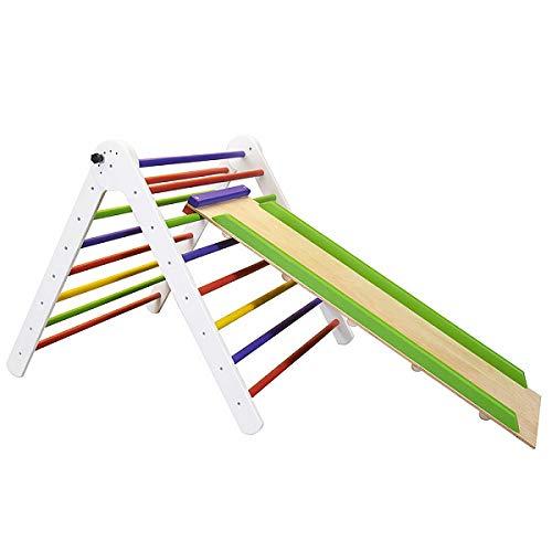 Pikler Dreieck Triangel Kind Spielplatz mit Rutschbahn ˝TriAngel-Farbe-80˝ Holz Kletternetz Kletterwand