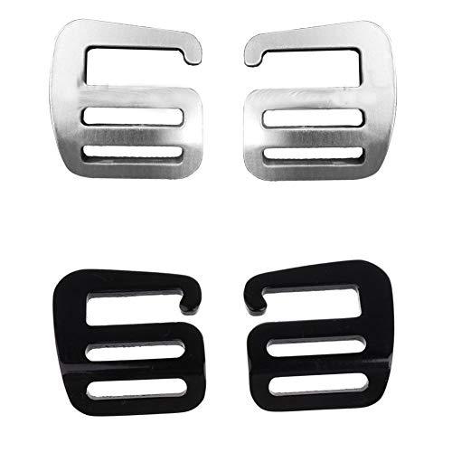 4 Stück Aluminium G Haken Webbing Buckle Rucksack Gurt Band Strap Schnalle (Schwarz+Silber)