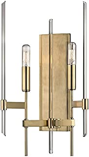 Hudson Valley Lighting Bari 2-Light Wall Sconce - Aged Brass Finish with Clear Glass Shade