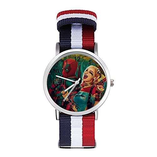 Dead_Pool Harley QuinnTrenzado Reloj con Escala Moda Negocios Ajustable Banda de Impresión Color Banda Adecuado tanto para Hombres como Mujeres