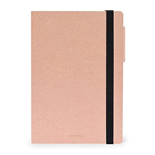 Legami - Agenda semanal de 18 meses, de julio de 2021 a diciembre de 2022, 12 x 18 cm, con cuaderno para apuntes, con planificador mensual, elástico, marcapáginas, rosa dorado, 12 x 18 cm