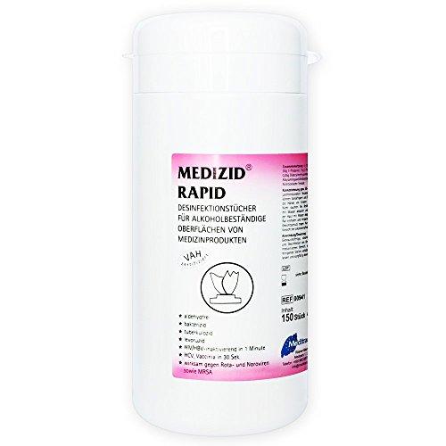 Medizid Rapid Desinfektionstücher Dose, 150 Stück, Schnelldesinfektionstücher, Oberflächendesinfektion, kurze Einwirkzeit