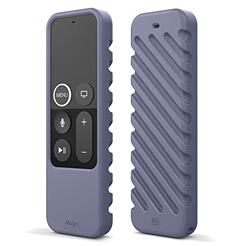 elago R3 Fernbedienung Hülle Hülle Kompatibel mit Apple TV Siri Remote 4K (5.) / 4. Generation Schutzhülle - Extra Schutz, Handgelenkschlaufe Inbegriffen (Lavendelgrau)