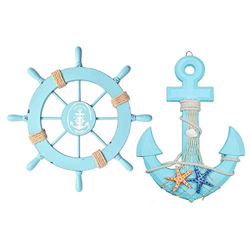 Fangoo 2 Pezzi 28 CM Timone Barca in Legno e 33 CM Ancora in Legno Decorazione da Spiaggia a Tema Nautico Oggetto Decorativo da Parete per la casa
