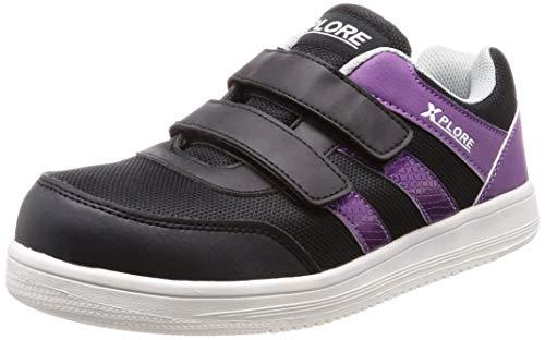 [クロスプロレ] 安全靴/作業靴 セーフティシューズ 厚底タイプ 安全靴 ブラック/パープル 24.5 cm 3E