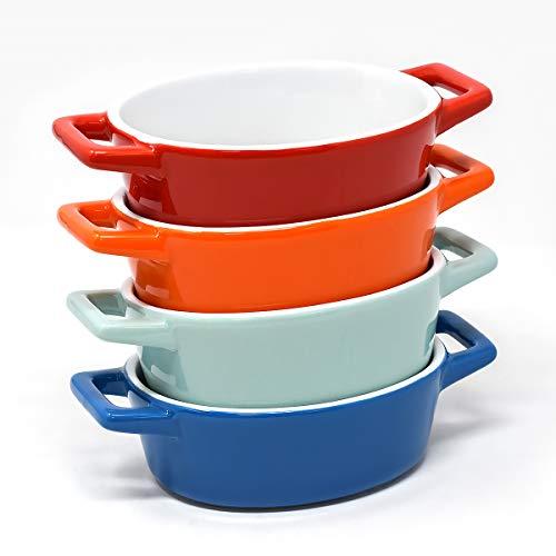 Juego de 4 bandejas horno de cerámica ovaladas pequeñas | Ideal para platos de horno, lasaña, mini cazuelas | Fuente de horno pequeña en azul, azul claro/verdoso, rojo, naranja