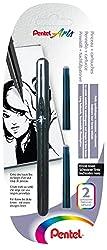 Pentel Pocket Brush Pinselstift mit 2 Patronen, schwarz