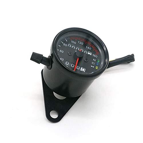 YUNJINGCHENMAN Motocicleta Universal del odómetro del velocímetro Moto Metro de Velocidad Dual con indicador LED Velocímetro DC 12V Negro/Plata (Color : Black)