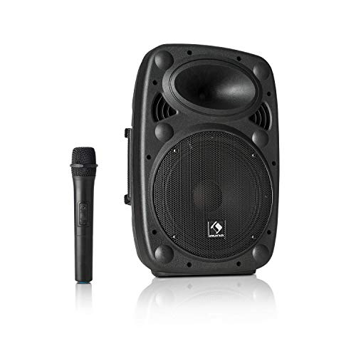 "auna Streetstar - Mobile PA-Anlage Musikanlage, Bluetooth, USB-Port, SD, MP3, AUX-In, Akku, LED-Display, (10"" (25,5 cm) Subwoofer, max. 400 Watt, schwarz"