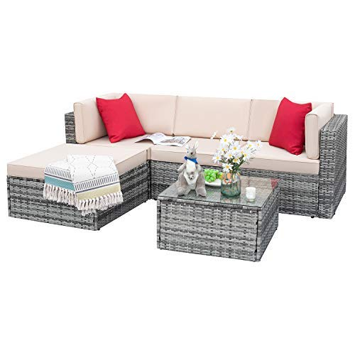 Tuoze 5 Pieces Patio Furniture Sectional Set Outdoor All-Weather PE Rattan Wicker Lawn Conversation Sets Cushioned Sofa Set with Glass Coffee Table (Grey)