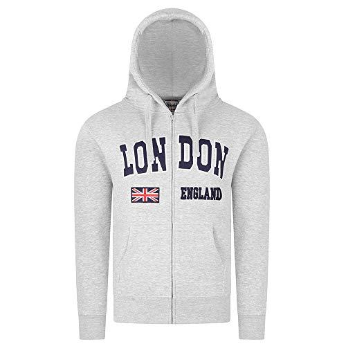 Zone One London England Kapuzenpullover Union Jack Flag UK Souvenir Geschenk Gestickt Premium Qualität Zip up Pullover Unisex Herren Damen Hoodie Sweatshirts (M, Grau)