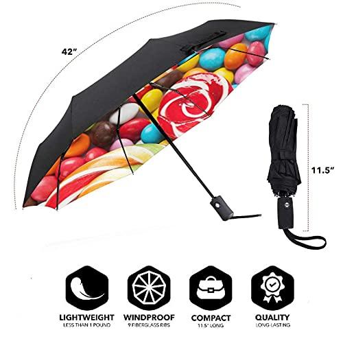 Dulce Lollipop Travel paraguas plegable portátil compacto ligero diseño automático y alta resistencia al viento