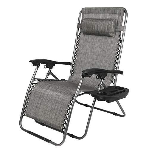 Lonfenner Lounge Chair Widened Folding Chair Leisure Chair Gray