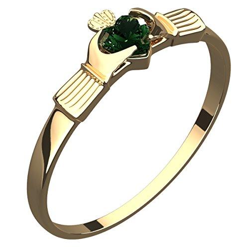 UPCO Jewellery Anillo de Plata Chapado en Oro de 14Q, Claddagh Irlandes con Corazon de CZ Verde ? 5