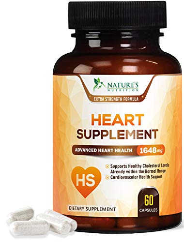 Heart Supplement Extra Strength Blood Pressure Support* - Heart Support Vitamins - Made in USA - Best Natural BP Pills with CoQ10 & Magnesium for Men & Women - 60 Capsules