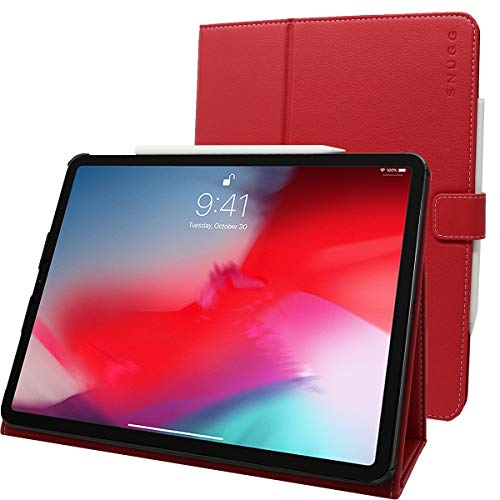 Snugg iPad Pro 12.9' (2020-4th Gen) Leather Case, Flip Stand Cover - Red