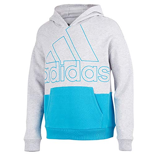 adidas Girls' Hooded Fleece Pullover Sweatshirt (Large, Colorblock Light Grey Heather/Blue)