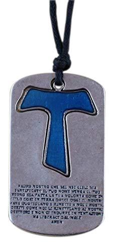Eurofusioni Tau Kreuz Vater Unser Anhänger Blauer- Versilbertes Metall