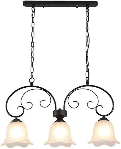 GJFDCP American Fashion Creative Candelabro Simple de Tres Cabezas, Cuerpo de Hierro, diseño de Pantalla de Vidrio, Fuente de luz E27 3 Luces, candelabro de decoración del hogar