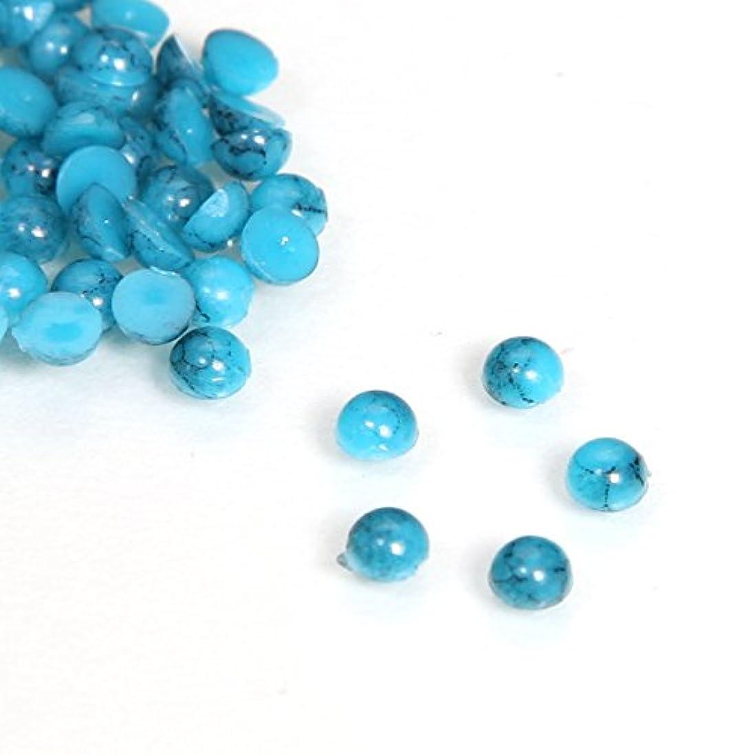 ラッドヤードキップリングにおいヒットターコイズ ラウンド ダークブルー 50粒 (3mm)