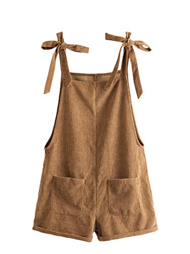 Romwe Women's Corduroy Tie Knot Strap Overall Shorts Pocket Jumpsuit Brown S