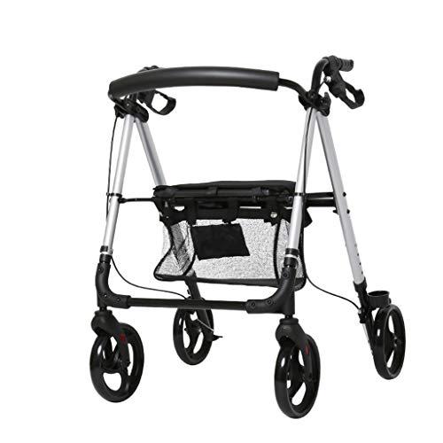 CHenXy 4-Rad-Gehhilfe, langlebige Aluminiumstütze mit Radsitz mit Handbremse Einkaufskorb, Rollengehhilfe for ältere Menschen medizinische Walker (Color : Gray)