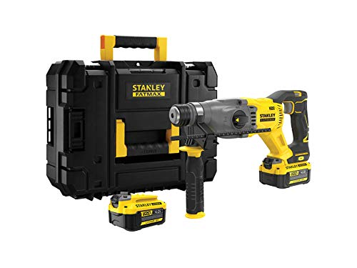 Stanley FatMax 18V SDS-plus Akku-Kombihammer SFMCH900M22 (4.0 Ah, 2.0 Joule Schlagenergie, bürstenloser Motor, Hammer-/Bohr-/Meißelfunktion, mit Bohrtiefenanschlag, inkl. 2 Akkus, Ladegerät & Koffer)
