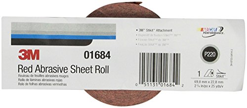 3M Red Abrasive Stikit Sheet Roll, 01684, P220, 2-3/4 in x 25 yd