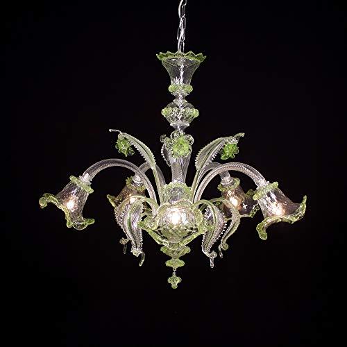 Cannaregio - Lámpara de techo de Murano con 5 luces - Fabricada en cristal cristal con adornos en color verde, partes metálicas cromadas