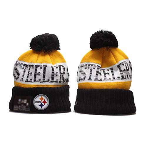 2020 Steelers Rugby-Hut American Fútbol Hecho de Punto Sombrero de Lana Rugby Sombrero de Punto, Gorra de sobreie Largo para Hombres y Mujeres, Todo el año, Tela SUA Yellow-OneSize