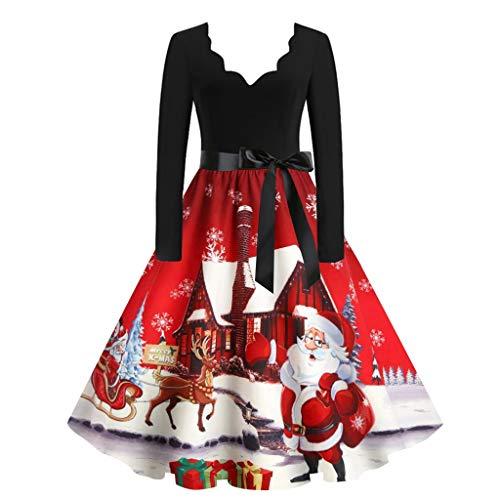 Damen Weihnachtsdruck Abendkleid Vintage 1950er Jahre Damen Elegantes Kleid Langarm...