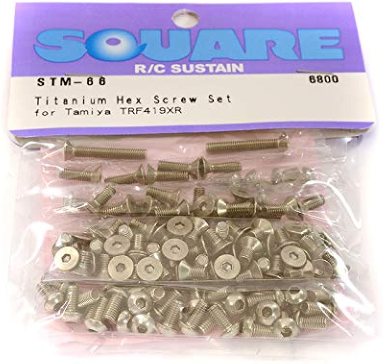 Square R C RC Model Hopups SQSTM66 Titanium Hex Screw Set (Tamiya TRF419XR)