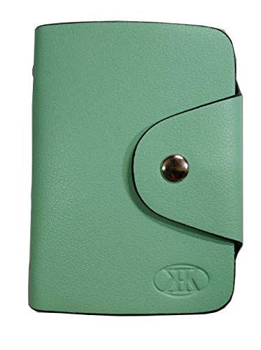 KK(三四郎市場) カードケース 20枚収納 全9色 磁気防止 薄型 レザー 大容量 カード入れ 男女兼用 クリアポケット メンズ レディース 通勤 通学 プレゼント ギフト用 グリーン