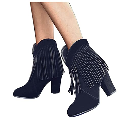 Woolkey Women's Fringe Boots Cowboy Ankle Booties Tassel Western Cowgirl Short Boots Round Toe Chunky High Heel Solid Color Retro Zipper Pull On Knight Boots for Ladies Party Club (Black, 8.5)