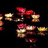 Uonlytech Lotus Floating Light, wasserdichtes Lotus LED Wunschlicht, LED Teichlicht für Gartenpool (2 Stück, Rot/Lila)
