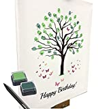 KATINGA Lienzo para cumpleaños – Diseño de árbol – como libro de visitas para huellas dactilares (40 x 50 cm, incluye lápiz + tampón)