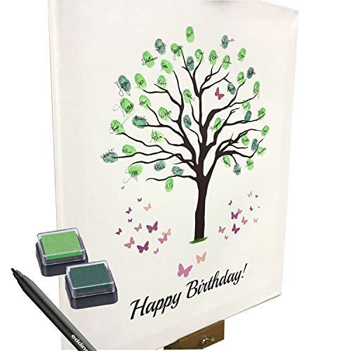 KATINGA Leinwand Zum Geburtstag - Motiv Baum - als Gästebuch für Fingerabdrücke (30x40cm, inkl. Stift + Stempelkissen) (klein - Happy Birthday!)
