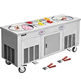 VEVOR Fried Ice Cream Roll Machine, 2-Pan Commercial Ice Roll Maker, Stainless Steel Fried Ice Cream Roll Maker with Refrigerated Cabinet & 10 Boxes, Fried Ice Cream Machine for Bar Cafe Dessert Shops