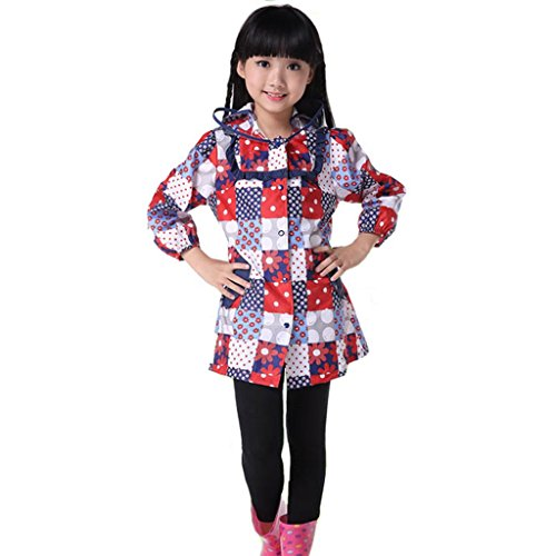 Vestes anti-pluie QFF Child Raincoat Girl Student Baby Poncho Protection de l'environnement sans goût (Taille : L)