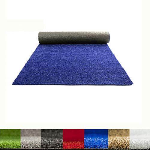Lucatex – Césped artificial Ibiza 8mm | césped artificial de colores azul, rojo, blanco, verde. | Césped artificial ideal para decoraciones de interior o exterior con fácil instalación (1x5 m, Azul)