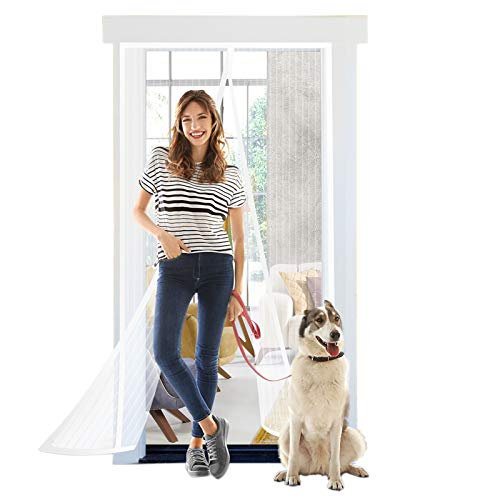 Titan mall Magnetic Screen Door with Durable Polyester Mesh Curtain Fits Door Full Frame Seal Loop Fits Door Size up to 39'x82' - White