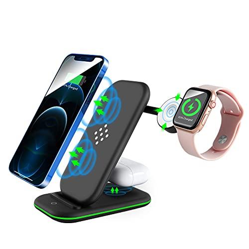 Cargador inalámbrico 3 en 1 para iPhone 12/12 Pro/12 Pro Max/11/11 Pro/XS Max/XR/ 8/8 Plus, iWatch SE/6/5/4/3/2, AirPods 3/2/Pro, Samsung, teléfonos habilitados para Qi