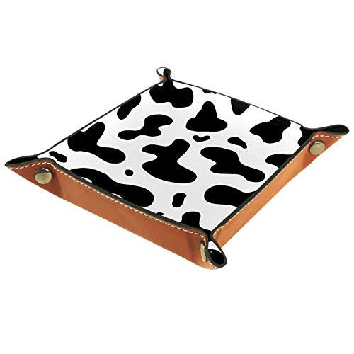 KAMEARI Bandeja de cuero con impresión de vaca, monedero, monedero, de piel de vaca, práctica caja de almacenamiento para carteras, relojes, llaves, monedas