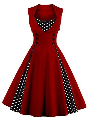 vkstar® para Mujer Vintage 1950de Inspired botón Swing vestido de noche Rockabilly...