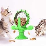 Akin Alimentador mascotas Dispensador comida para gatos y perros con rueda giratoria 360° Molino viento interactivo para mascotas Juguete inferior lechón fijo Alimentador gatos y perros (verde)